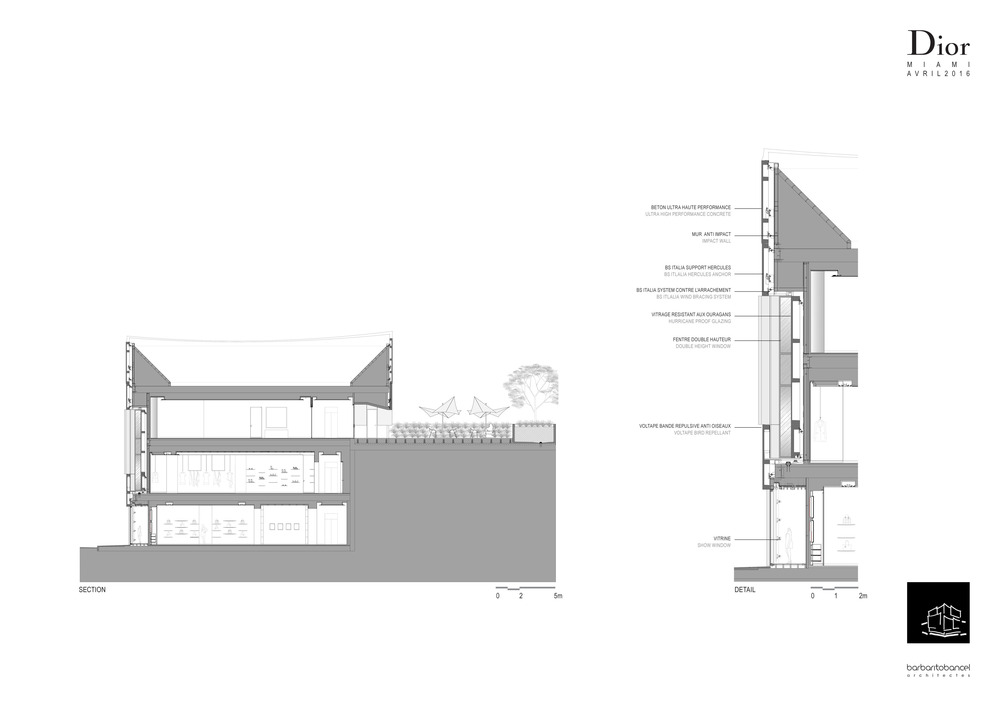 Facade section and detail drawing barbaritobancel architects
